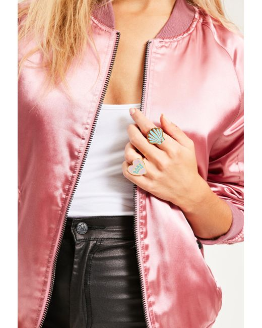 Missguided | Multicolor Shell & Babe Power Statement Ring Set | Lyst