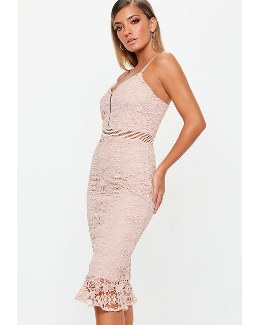 ... Missguided - Natural Nude Ladder Lace Midi Dress - Lyst ... 7af3ca800