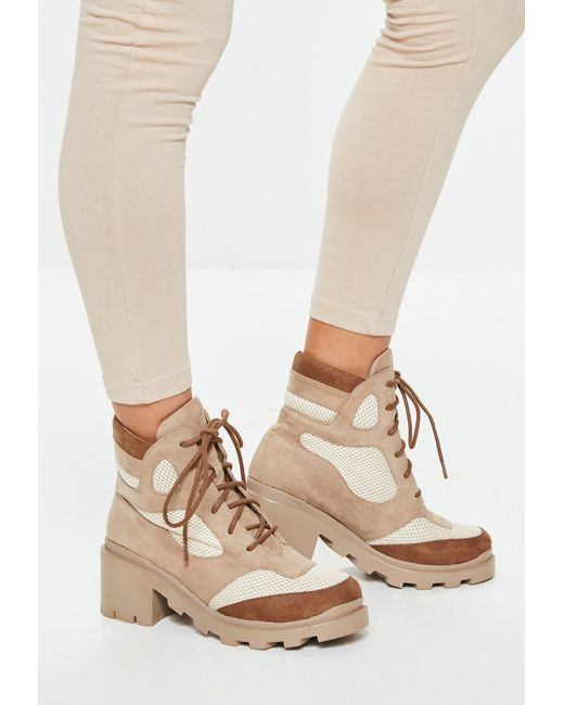 Missguided - Brown Tan Contrast Panel Lace Up Boots - Lyst