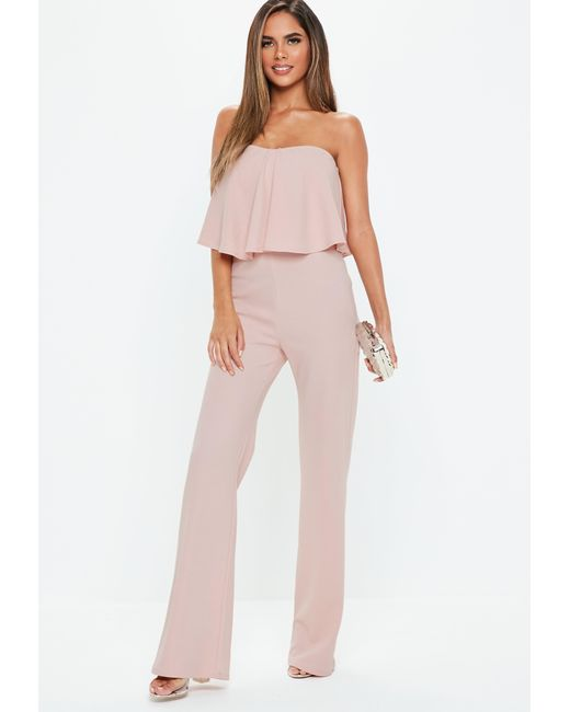 c435ff527452a5 Lyst - Missguided Pink Double Layer Wide Leg Jumpsuit in Pink - Save 12%