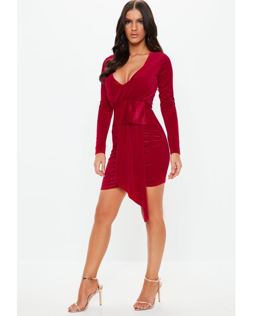 8894a97824 ... Missguided - Red Velvet Plunge Drape Mini Dress - Lyst ...
