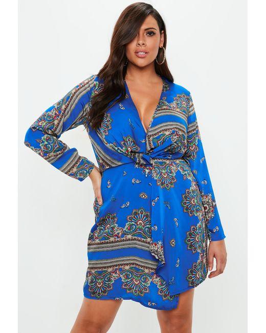 Missguided - Plus Size Blue Paisley Print Wrap Dress - Lyst