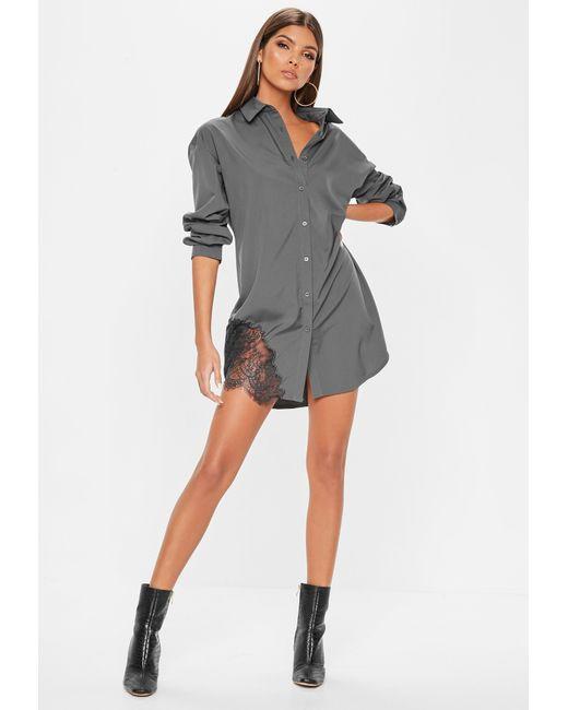 54162c683dcc ... Missguided - Gray Grey Lace Trim Shirt Dress - Lyst ...