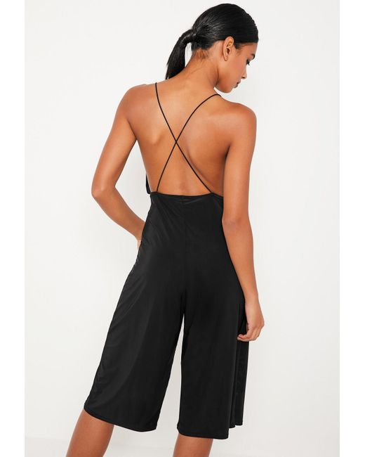 Missguided   Black Strappy Plunge Slinky Culotte Jumpsuit   Lyst