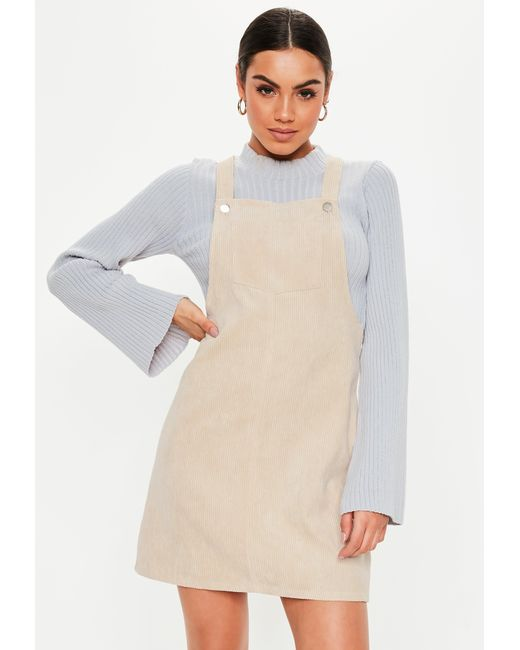 c165dd4e9ddb Missguided - Natural Nude Cord Pinafore Dress - Lyst ...