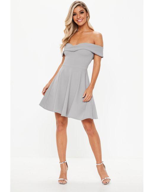 017a01c6c485 ... Missguided - Gray Grey Bardot Skater Dress - Lyst ...