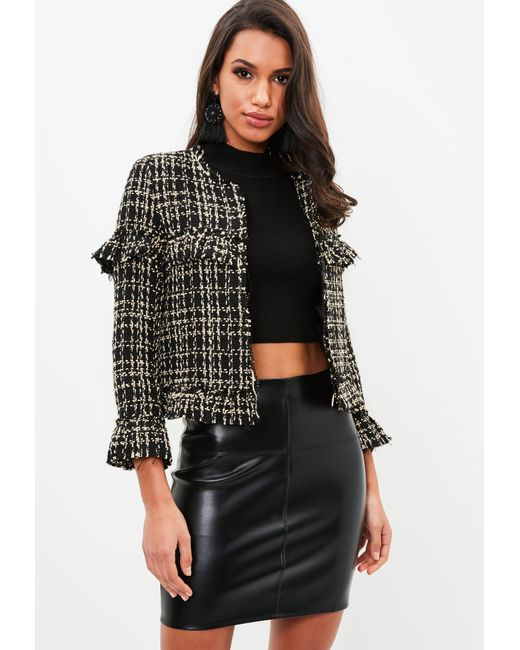 Missguided | Petite Black Boucle Tailored Jacket | Lyst
