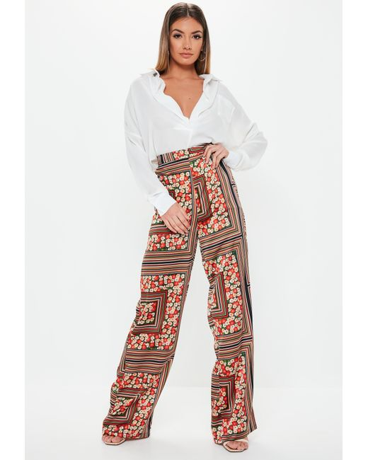 9fc6046ea463 ... Missguided - Red Stripe Floral Mix Wide Leg Pants - Lyst ...