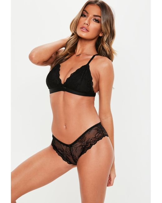 a204b024a7 Lyst - Missguided Black Lace Soft Bra And Brief Set in Black