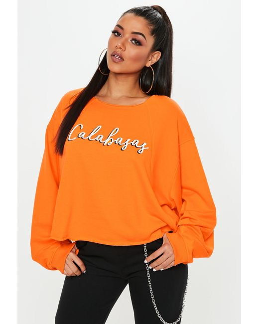 Missguided - Orange Calabasas Cropped Sweatshirt - Lyst