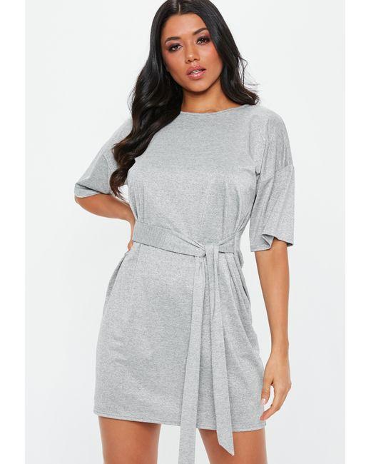 674eca2215bc Lyst - Missguided Grey Glitter Tie Waist T-shirt Dress in Gray ...