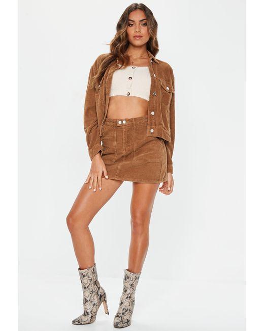 1d267b7efa ... Missguided - Brown Tan Cord Mini Skirt - Lyst ...