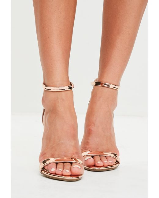 ed6356e9c3e9 ... Missguided - Multicolor Rose Gold Two Straps Barely There Sandals -  Lyst ...