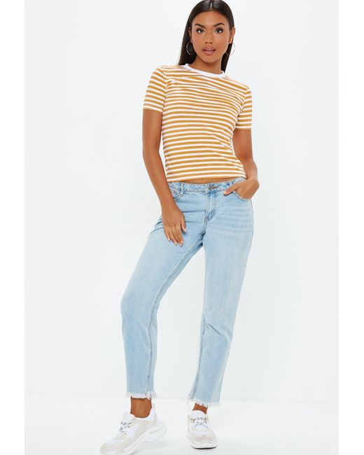 afc7792d07c ... Missguided - Multicolor Mustard Striped Fitted T Shirt - Lyst ...