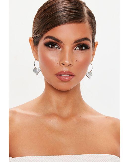 Missguided - Metallic Silver Look Diamante Pixel Heart Hoop Earrings - Lyst