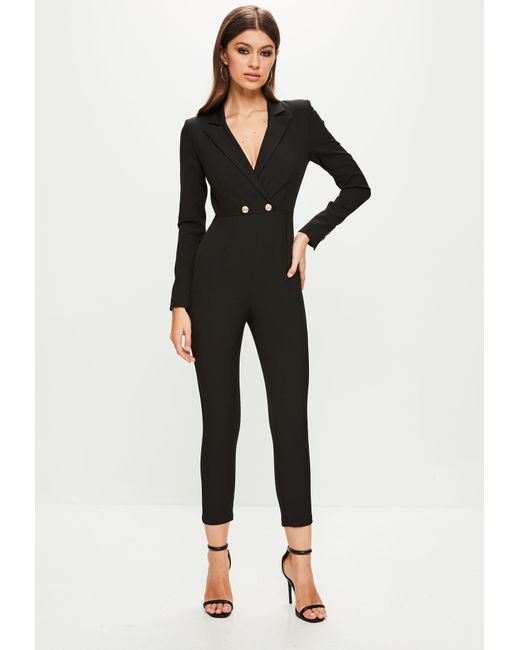 Missguided - Black Peace + Love Long Sleeve Double Button Jumpsuit - Lyst