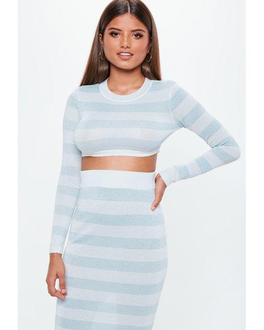 53b3c06eebdd3 Lyst - Missguided Blue Stripe Metallic Knitted Co Ord Crop Top in Blue