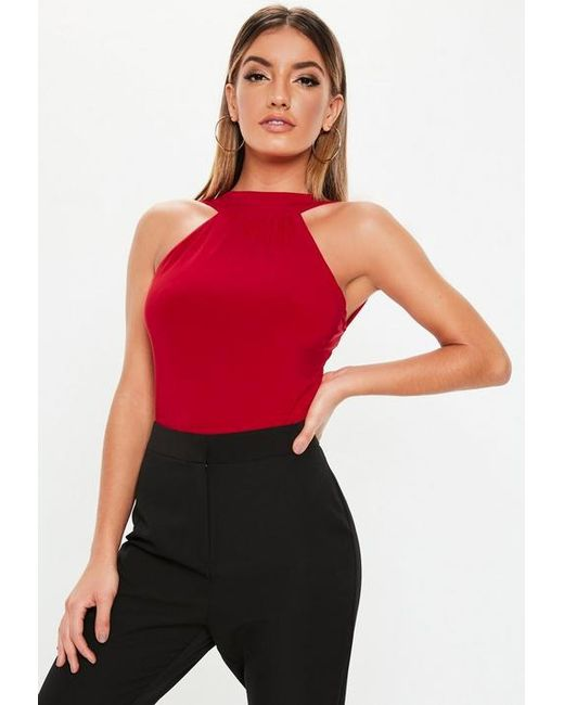 1573d89c69 Missguided Red Slinky High Neck Bodysuit in Red - Lyst