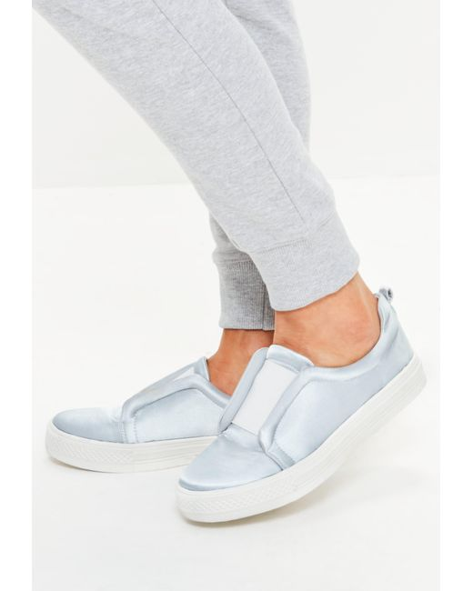 Missguided - Gray Satin Slip On Sneakers - Lyst