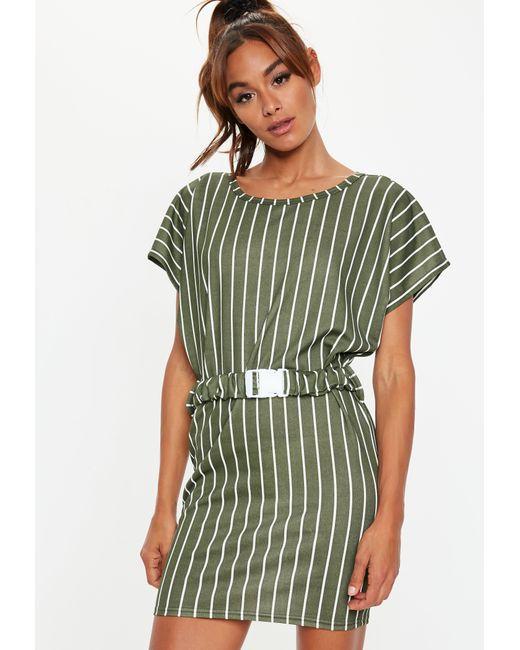Missguided - Green Khaki Stripe Buckle Belt T Shirt Dress - Lyst