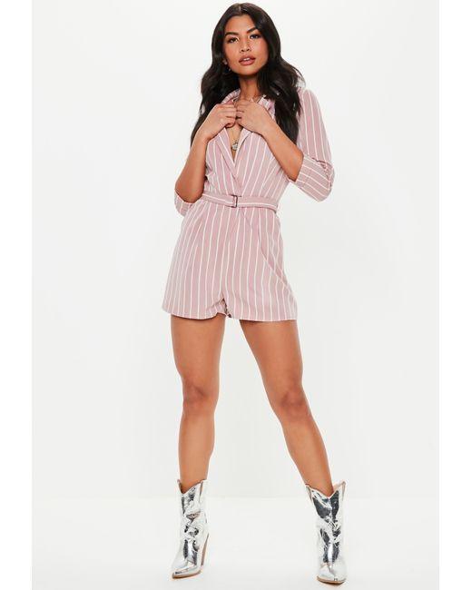 9511979a3753 ... Missguided - Pink Stripe Plunge Blazer Playsuit - Lyst ...