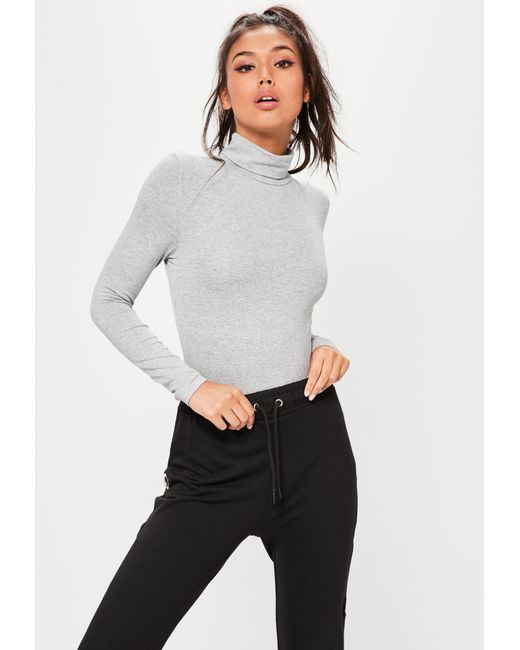 Missguided Grey Funnel Neck Long Sleeve Bodysuit in Gray - Save 27 ... 5a2abf6ad