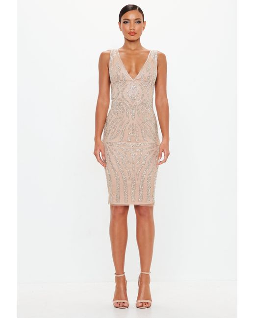 032382ce62db Missguided - Natural Peace + Love Nude Embellished Plunge Midi Dress - Lyst  ...