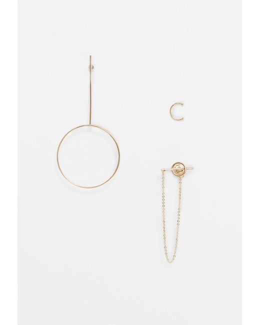 Missguided | Metallic Gold Drop Hoop Earrings Pack | Lyst