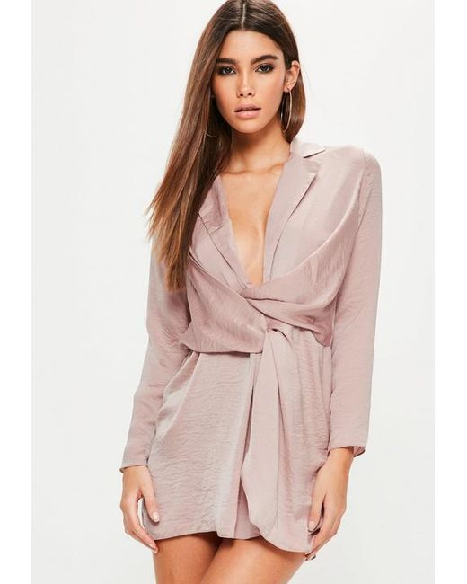 Missguided Petite Pink Hammered Satin Wrap Plunge Dress in Pink - Lyst 80192f40c