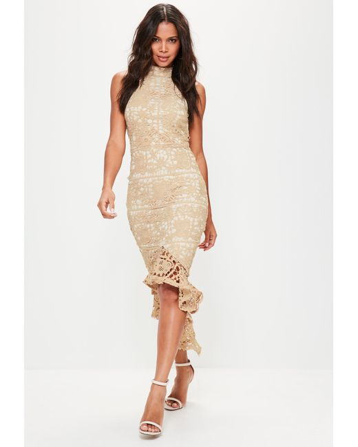 Missguided - Natural Nude Lace High Neck Fishtail Midi Dress - Lyst ...