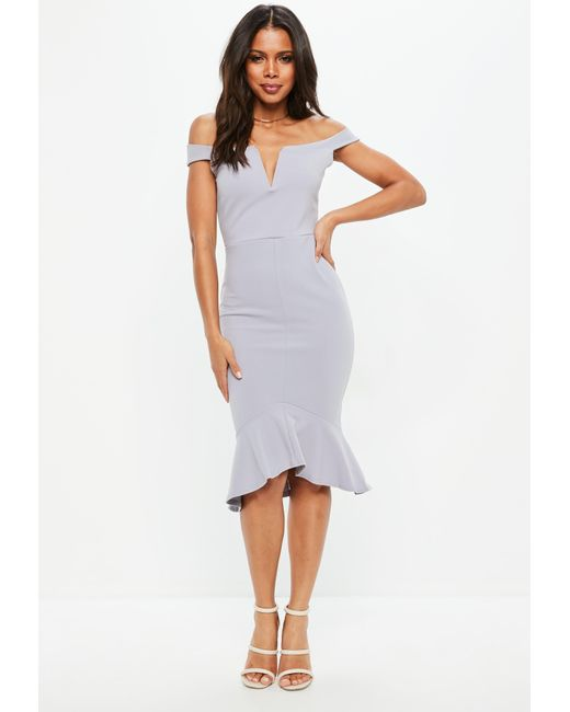 Missguided - Tall Gray V Bar Bardot Frill Hem Midi Dress - Lyst