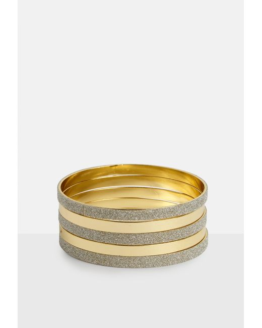 Missguided - Metallic Gold Look Multi Pack Bangles - Lyst