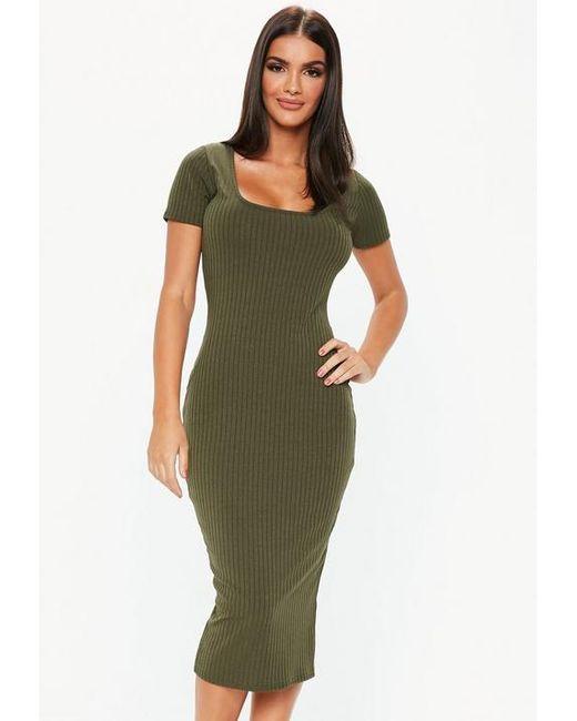 adf5c2266975 Missguided - Green Khaki Short Sleeve Ribbed Midi Dress - Lyst ...