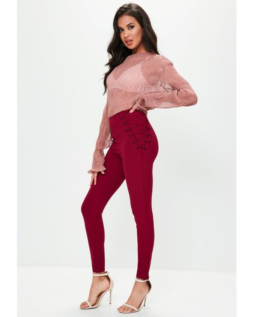 Missguided - Red Burgundy Lace Up Side Skinny Pants - Lyst