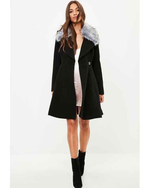 Missguided Black Belted Short Wool Skater Coat in Black | Lyst