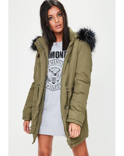Missguided | Natural Khaki Hooded Parka Jacket | Lyst