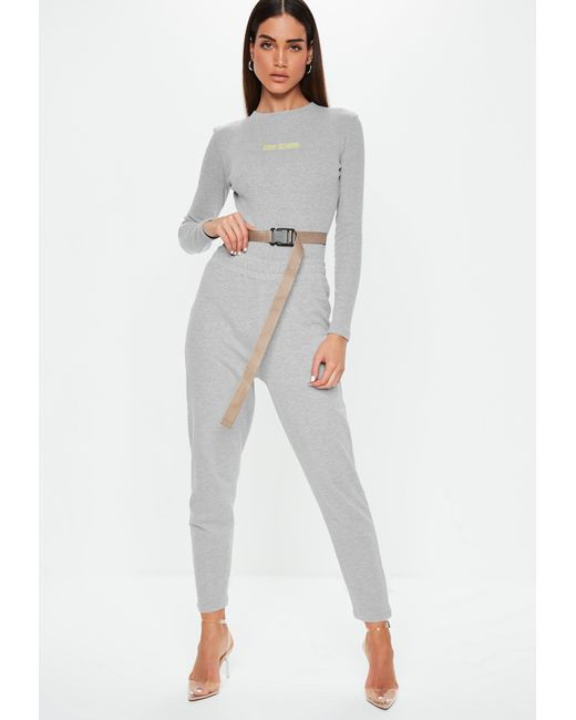 cf2462517227 Missguided Grey Embroidered Slogan Buckle Front Bodysuit in Gray - Lyst