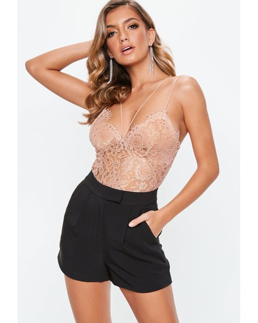Missguided Lace High Neck Overlay Cami Top Nude in Blue | Lyst