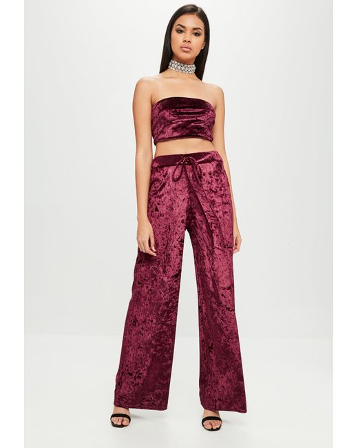 Missguided - Red Carli Bybel X Burgundy Crushed Velvet Trousers - Lyst