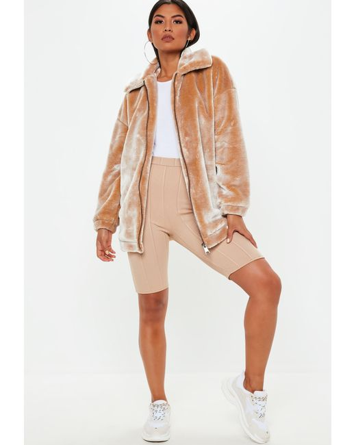 34df1d9fb Missguided Camel Oversized Faux Fur Jacket in Natural - Lyst