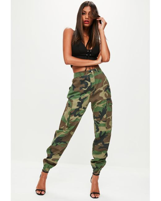 Lyst Missguided Green Camo Printed Cargo Pants In Green