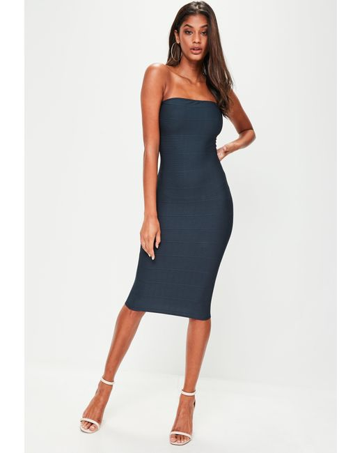 Missguided | Blue Navy Bandage Bandeau Midi Dress | Lyst