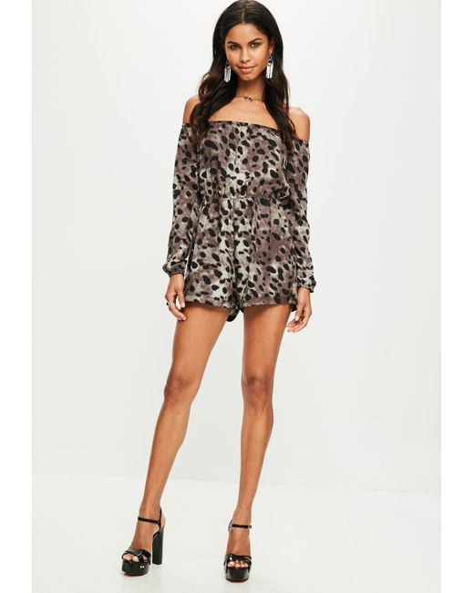 1a2cb920dcf Lyst - Missguided Grey Leopard Bardot Romper in Gray - Save 53%
