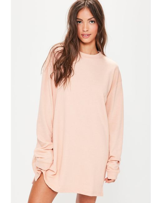 Missguided Oversized Sweater Dress Nude in Natural | Lyst