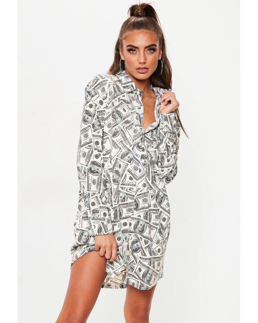 df3c2da82ac Missguided White Oversized Dollar Print Shirt Dress in White - Lyst