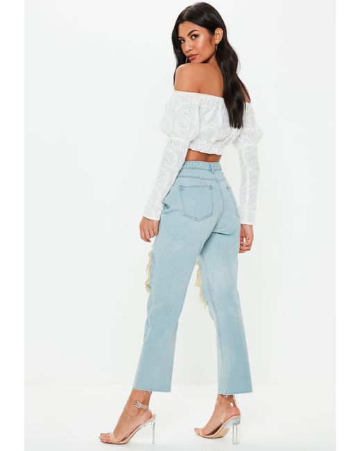 364448d9828 Lyst - Missguided Blue Wrath Vintage Wash Rip Straight Leg Jeans in Blue