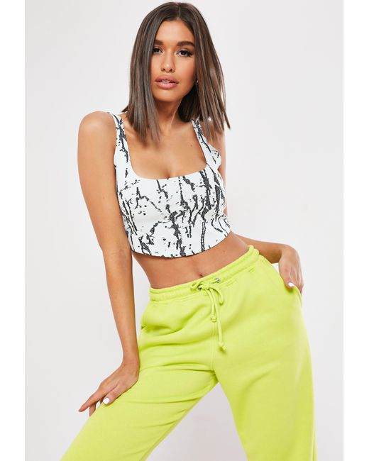 85c9f1a6ff7c7 Lyst - Missguided White Marble Printed Scoop Crop Top in White
