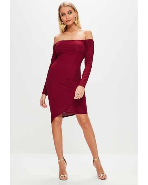 5581092b9aa9 ... Missguided - Red Burgundy Rib Bardot Bodycon Dress - Lyst ...