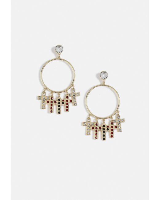 Missguided - Metallic Gold Look Cross Drop Diamante Top Hoop Earrings - Lyst