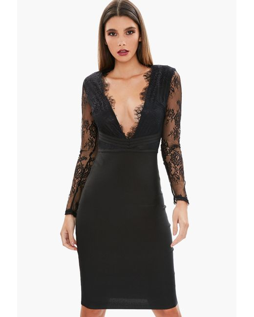 Missguided - Black Lace Plunge Bandage Bodycon Dress - Lyst